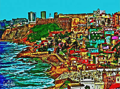 Puerto Rico Digital Art - Puerto Rico Old San Juan Walled City by Carol F Austin