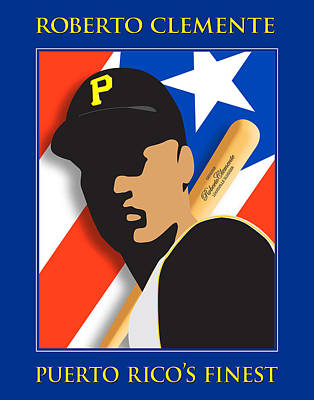 Roberto Clemente Digital Art - Puerto Rico's Finest by Ron Regalado