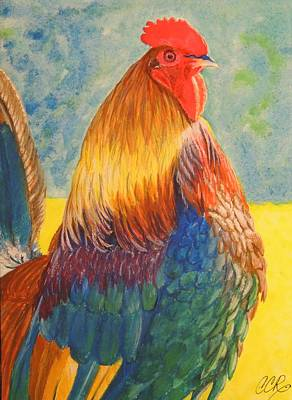 Bantam Painting - Puffed And Proud by Connie Campbell Rosenthal