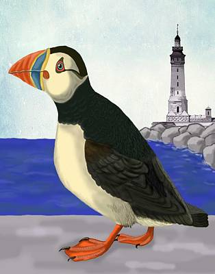 Puffin Digital Art - Puffin On The Quay by Loopylolly