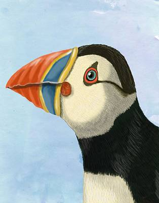 Puffin Digital Art - Puffin Portrait by Loopylolly