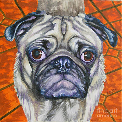 Fawn Pug Painting - Pug Eyes by Louise Hallauer