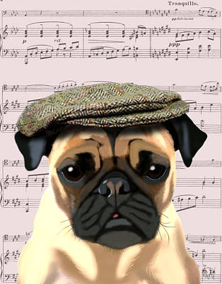Pug In A Flat Cap Print by Kelly McLaughlan