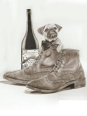 Pug In Boots Print by Terri Meredith