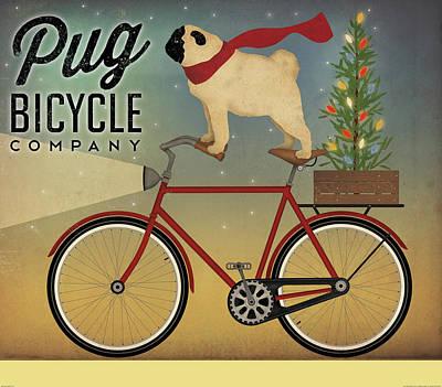 Pug On A Bike Christmas Print by Ryan Fowler