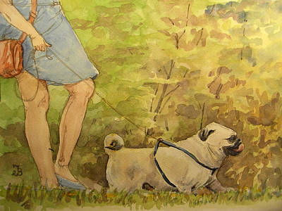 Pug Walkign Print by Juan  Bosco