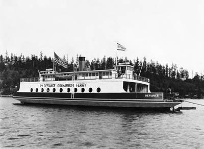 Puget Sound Ferry Boat Print by Underwood Archives