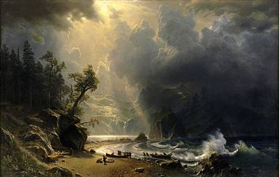 Seattle Drawing - Puget Sound On The Pacific Coast by Albert Bierstadt