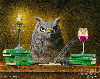 Library Painting - Pulling An All-nighter... by Will Bullas