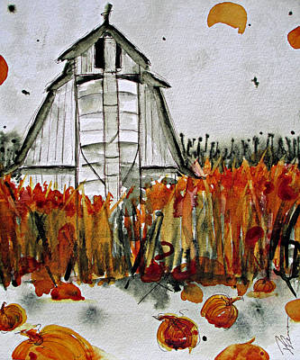Farm Scene Painting - Pumpkin Dreams by Dawn Derman