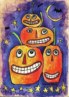 Spider Painting - Pumpkin Family by Anne Tavoletti