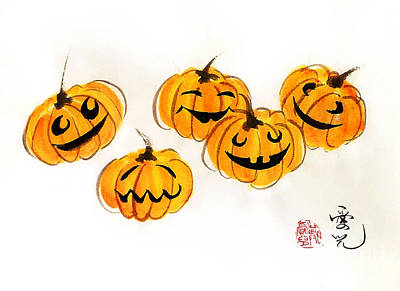 Chinese Painting - Pumpkin Fun by Oiyee At Oystudio
