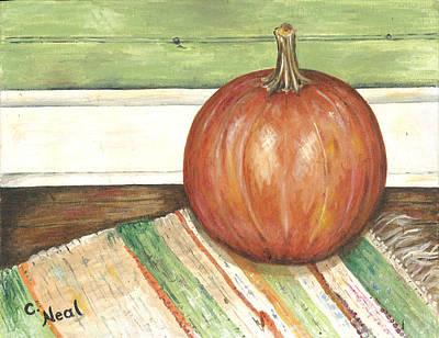 Rag Rug Painting - Pumpkin On A Rag Rug by Carol Neal