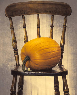 Pumpkin On Chair Print by Amanda And Christopher Elwell