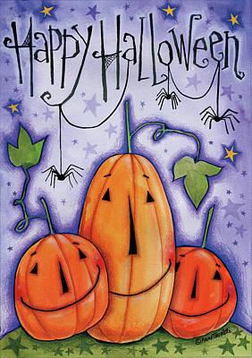 Spider Painting - Pumpkin Trio by Anne Tavoletti