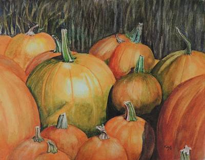 Pumpkin Wagon At The Farm Stand Print by Patty Kay Hall