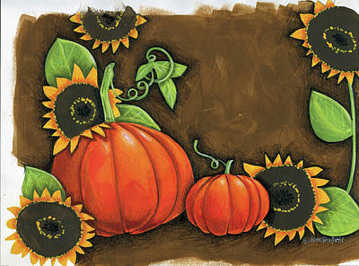Vines Painting - Pumpkins And Sunflowers by Anne Tavoletti