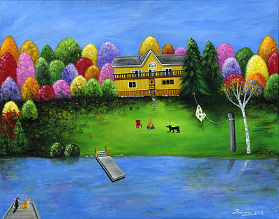 Lakefront Painting - Pumpkin's Honeybear Cottage by Brianna Mulvale
