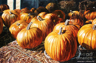 Bales Painting - Pumpkins In The Barn by Christina Swanson