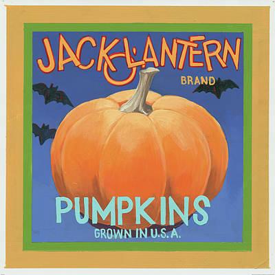 Bat Painting - Pumpkins by Wild Apple Graphics