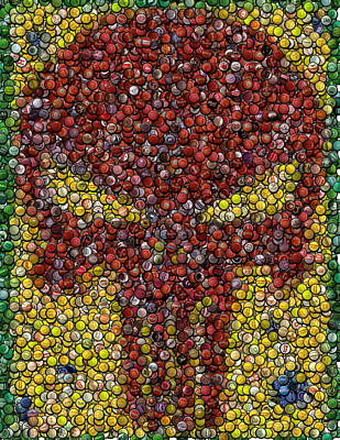 Punisher Bottle Cap Mosaic Print by Paul Van Scott