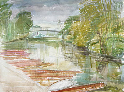 Punts On The Cherwell Wc On Paper Print by Erin Townsend