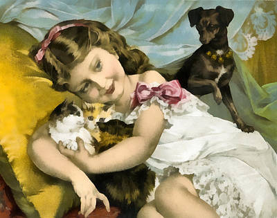 Cats And Dogs Digital Art - Puppies Kittens And Baby Girl by Vintage Trading Cards