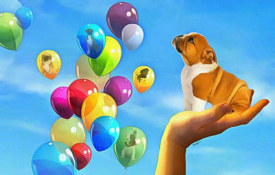 Puppies Digital Art - Puppy Balloon-a-gram by Anthony Caruso