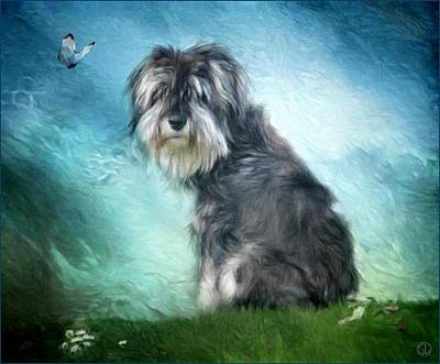 Puppy Digital Art - Puppy Explores The World by Gun Legler