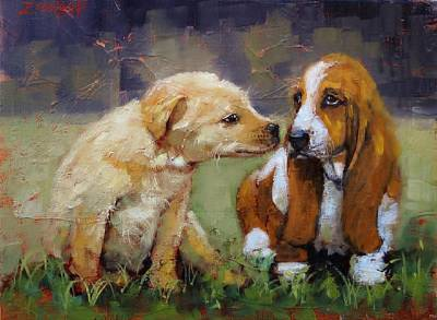 Beagle Puppies Painting - Puppy Love by Laura Lee Zanghetti