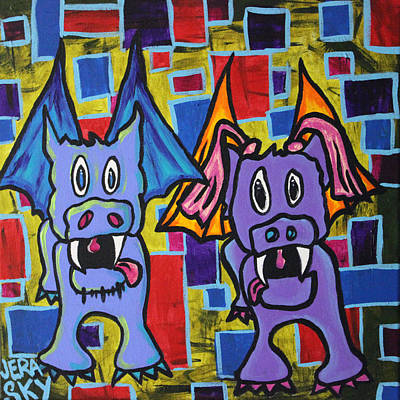 Puppydragon Mondriancubes Print by Jera Sky