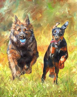 Dog Playing Ball Painting - Pure Joy by David Stribbling