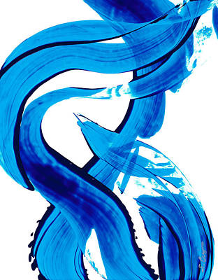 Abstract Beach Art Abstract Beach Painting - Pure Water 302 - Blue Abstract Art By Sharon Cummings by Sharon Cummings