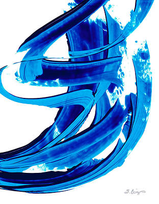 Pure Water 304 - Blue Abstract Art By Sharon Cummings Print by Sharon Cummings