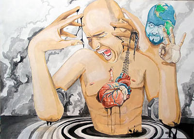 Heart Images Painting - Purge by Lazaro Hurtado