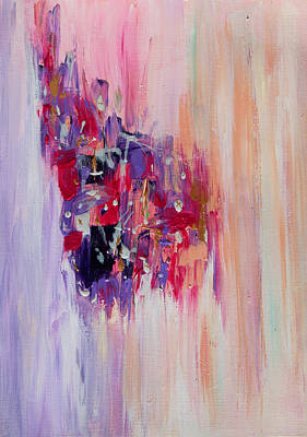 Copper Color Painting - Purple Abstract Landscape by Julia Apostolova