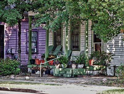 Purple And Green House  Print by Michael Thomas