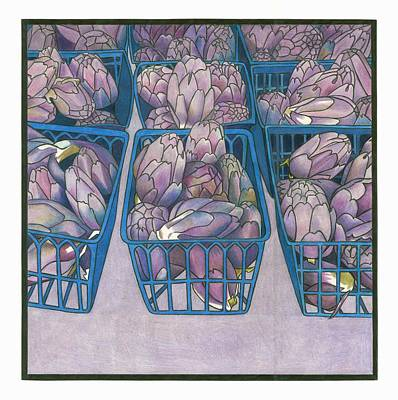 Artichoke Drawing - Purple Artichokes by Lesley Rutherford