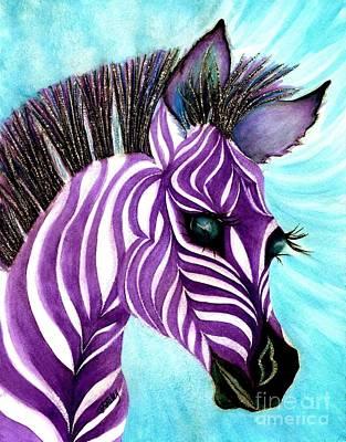 Zebra In Painting - Purple Baby Zebra by Janine Riley