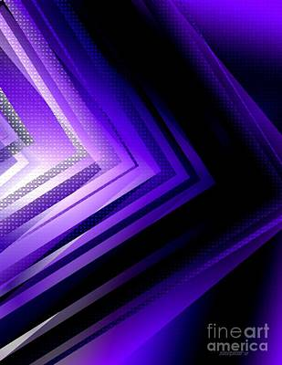 Abstract Digital Digital Art - Purple Black And White Geometry by Mario Perez