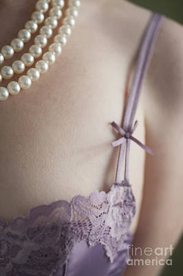 Purple Bra And Pearl Necklace Print by Lee Avison