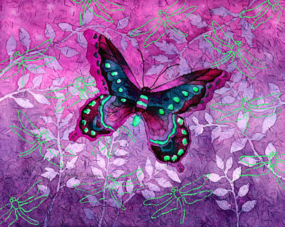 Digital Watercolor Painting - Purple Butterfly by Hailey E Herrera