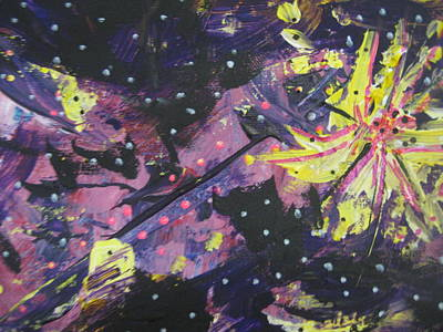 Outsider Art Painting - Purple Color Blast by Dotti Hannum