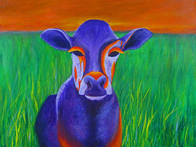 Purple Cow Print by Roseann Gilmore