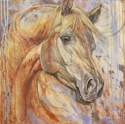 Equestrian Artists Painting - Purple Dawn Arabian by Silvana Gabudean