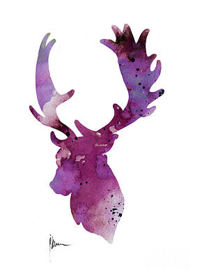 Purple Deer Head Silhouette Watercolor Artwork Print by Joanna Szmerdt
