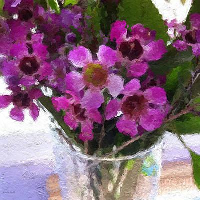 Still Life Mixed Media - Purple Flowers by Linda Woods