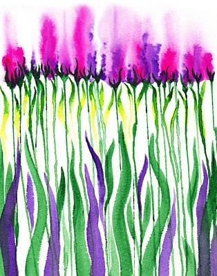 Flower Abstract Painting - Purple Flowers Watercolor  by Irina Sztukowski