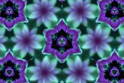 Purple Fractal Flowers Print by Hakon Soreide