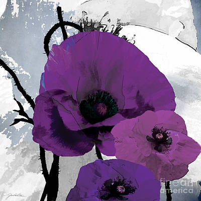 Bold Flower Painting - Purple Grey Poppy B by Grace Pullen